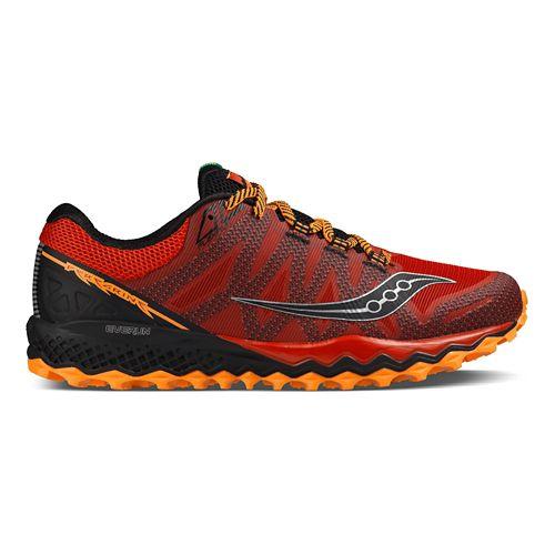 Mens Saucony Peregrine 7 Trail Running Shoe - Red/Orange/Black 8.5
