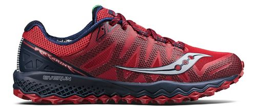 Mens Saucony Peregrine 7 Trail Running Shoe - Red/Navy 8.5