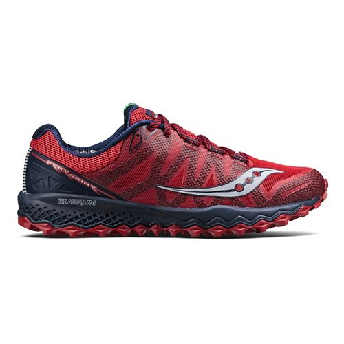 Mens Saucony Peregrine 7 Trail Running Shoe - Red/Navy 9.5