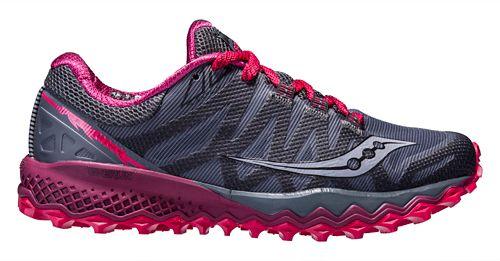 Womens Saucony Peregrine 7 Trail Running Shoe - Grey/Berry 10.5