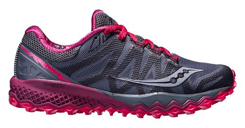Womens Saucony Peregrine 7 Trail Running Shoe - Grey/Berry 5.5