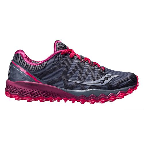 Womens Saucony Peregrine 7 Trail Running Shoe - Grey/Berry 6.5