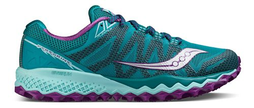 Womens Saucony Peregrine 7 Trail Running Shoe - Teal/Purple 6