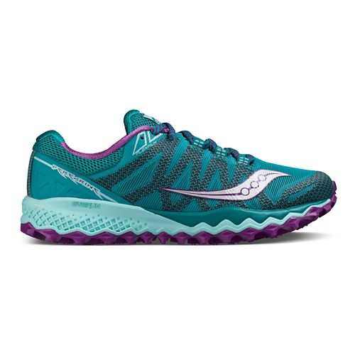 Womens Saucony Peregrine 7 Trail Running Shoe - Teal/Purple 7.5