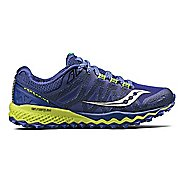 Womens Saucony Peregrine 7 Trail Running Shoe - Blue/Citron 11.5