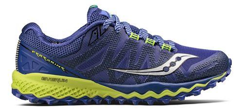 Womens Saucony Peregrine 7 Trail Running Shoe - Blue/Citron 7.5
