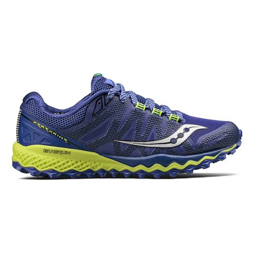 Womens Saucony Peregrine 7 Trail Running Shoe - Blue/Citron 5