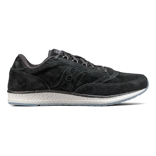 Mens Saucony Freedom Runner Suede Casual Shoe - Black 8.5