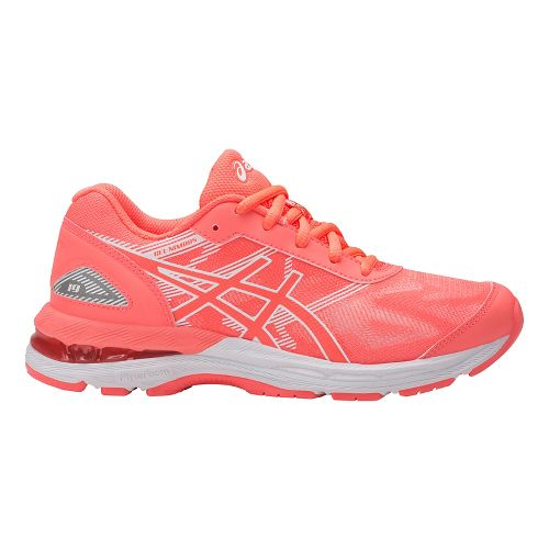 Kids ASICS GEL-Nimbus 19 Running Shoe - Coral/White 2.5Y