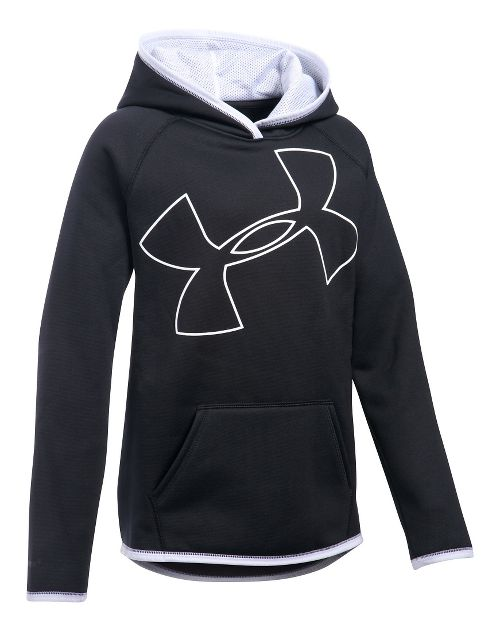 Under Armour Girls Armour Fleece Highlight Half-Zips & Hoodies Technical Tops - Black/White YM