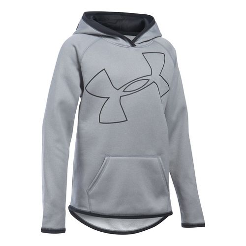 Under Armour Girls Armour Fleece Highlight Half-Zips & Hoodies Technical Tops - Grey ...