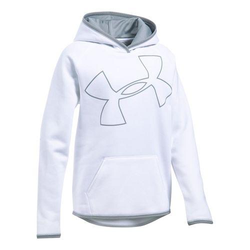 Under Armour Girls Armour Fleece Highlight Half-Zips & Hoodies Technical Tops - White/Steel YXL
