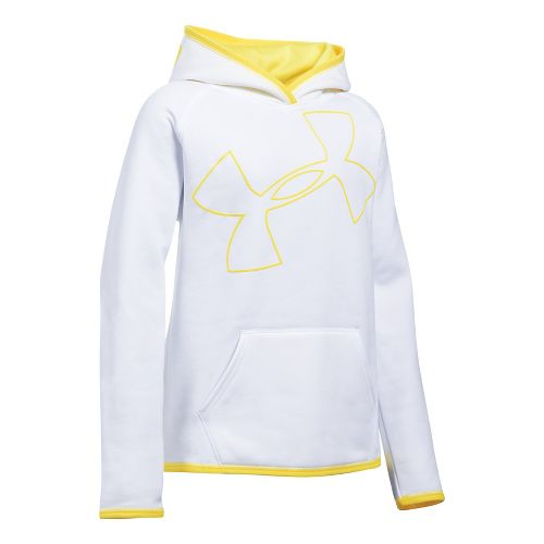 Under Armour Girls Armour Fleece Highlight Half-Zips & Hoodies Technical Tops - White/Lemon YL