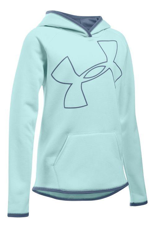 Under Armour Girls Armour Fleece Highlight Half-Zips & Hoodies Technical Tops - Aqua ...
