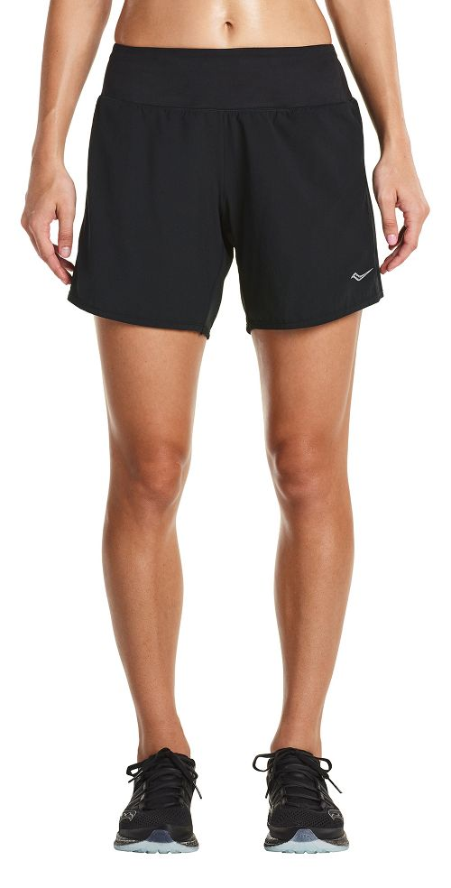 Womens Saucony Run Lux Unlined Shorts - Black L