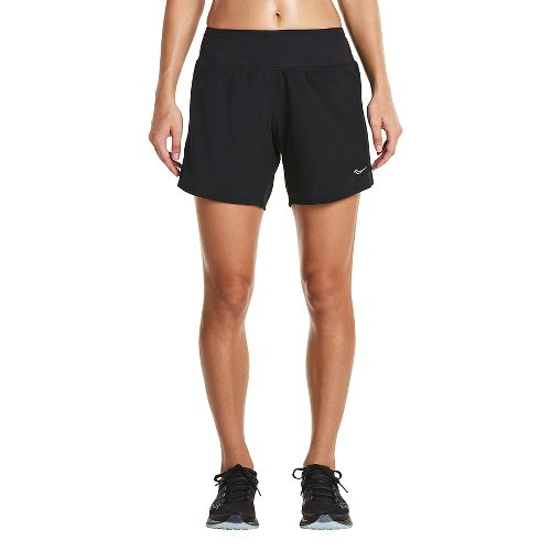 Womens Saucony Run Lux Unlined Shorts - Black XS