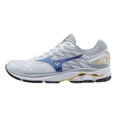 Mens Mizuno Wave Rider 20 Running Shoe - White/Strong Blue 9
