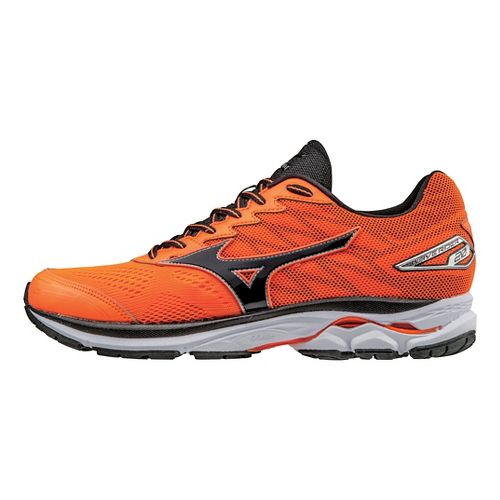 Mens Mizuno Wave Rider 20 Running Shoe - Orange/Black 11.5