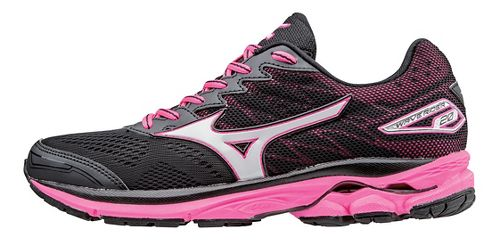 Womens Mizuno Wave Rider 20 Running Shoe - Black/Pink 9.5