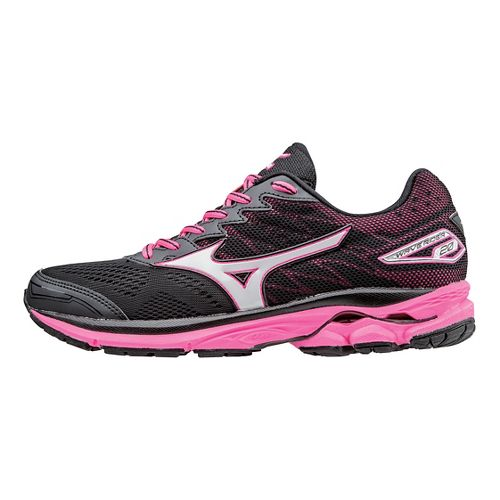Womens Mizuno Wave Rider 20 Running Shoe - Black/Pink 6.5