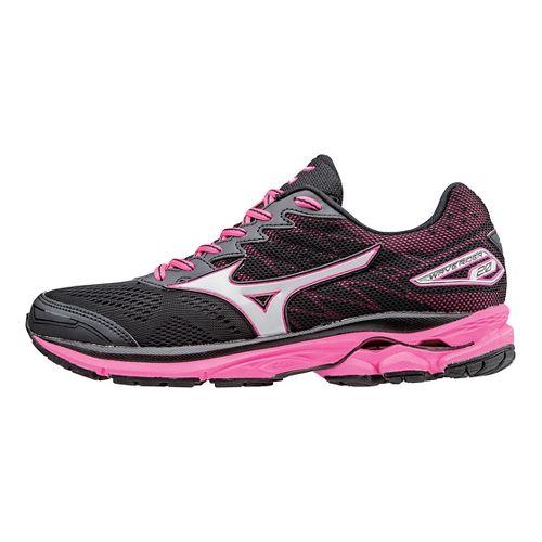 Womens Mizuno Wave Rider 20 Running Shoe - Black/Pink 8.5