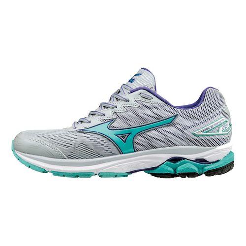 Womens Mizuno Wave Rider 20 Running Shoe - Grey/Turquoise 7.5