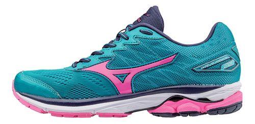 Womens Mizuno Wave Rider 20 Running Shoe - Turquoise/Pink 10