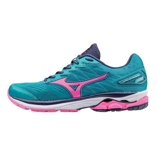 Womens Mizuno Wave Rider 20 Running Shoe - Grey/Turquoise 7.5