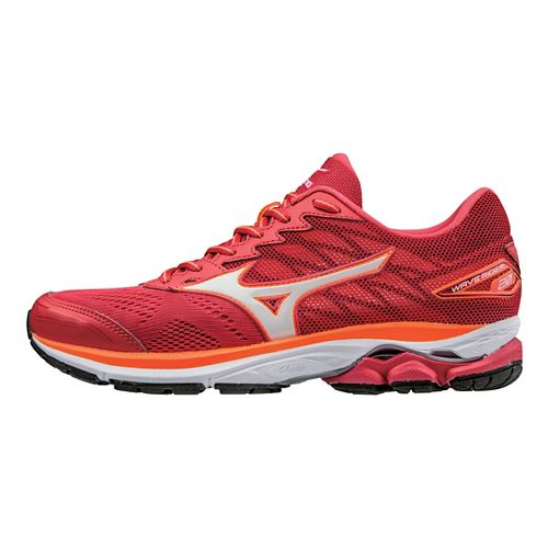Womens Mizuno Wave Rider 20 Running Shoe - Red/White 7.5