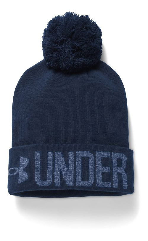 Womens Under Armour Graphic Pom Beanie Headwear - Midnight Navy/Ink