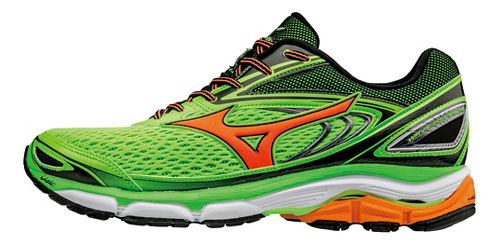 Mens Mizuno Wave Inspire 13 Running Shoe - Green Gecko/Orange 8