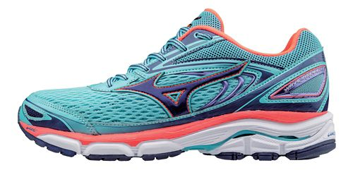 Womens Mizuno Wave Inspire 13 Running Shoe - Blue/Coral 8