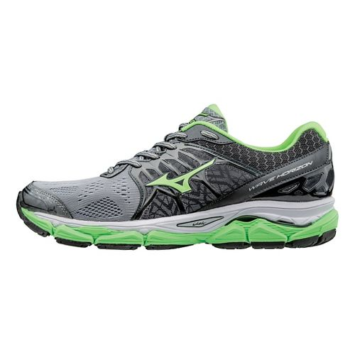 Mens Mizuno Wave Horizon Running Shoe - Grey/Green Gecko 10.5