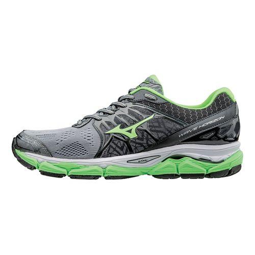 Mens Mizuno Wave Horizon Running Shoe - Grey/Green Gecko 13