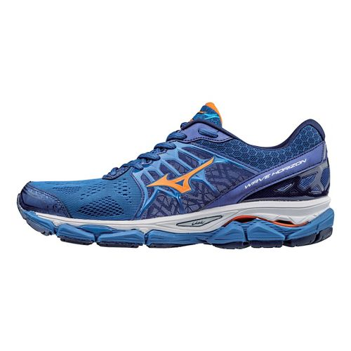 Mens Mizuno Wave Horizon Running Shoe - Nautical Blue/Orange 7.5