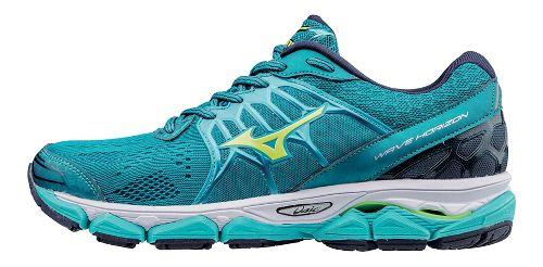 Womens Mizuno Wave Horizon Running Shoe - Teal/Yellow 8.5