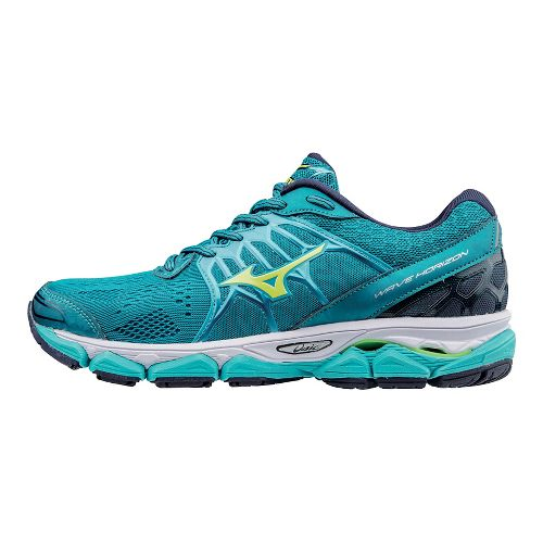 Womens Mizuno Wave Horizon Running Shoe - Teal/Yellow 9