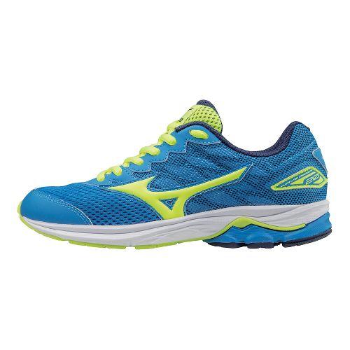 Kids Mizuno Wave Rider 20 Running Shoe - Blue/Safety Yellow 6.5Y