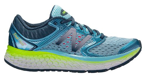 Womens New Balance Fresh Foam 1080v7 Running Shoe - Blue/Lime 9.5