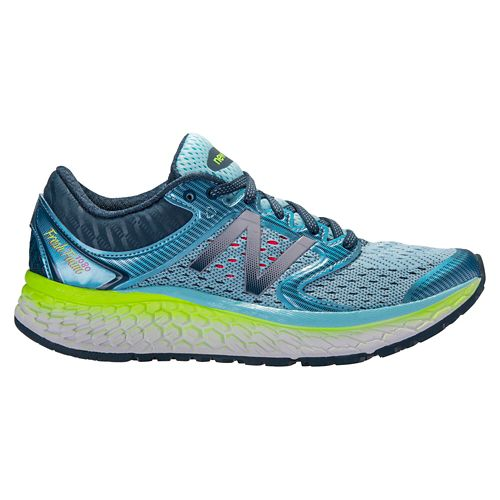 Womens New Balance Fresh Foam 1080v7 Running Shoe - Blue/Lime 7.5