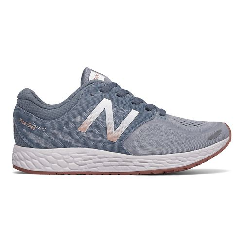 Womens New Balance Fresh Foam Zante v3 Running Shoe - Grey/Rose Gold 8