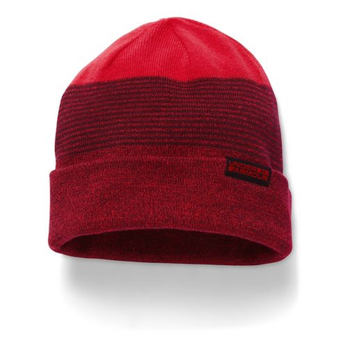 Mens Under Armour 4-in-1 Beanie Headwear - Red/Dark Maroon