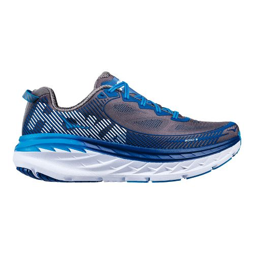 Mens Hoka One One Bondi 5 Running Shoe - Grey/Blue 7