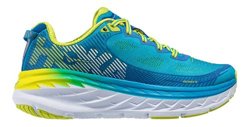 Womens Hoka One One Bondi 5 Running Shoe - Blue/Acid 9.5