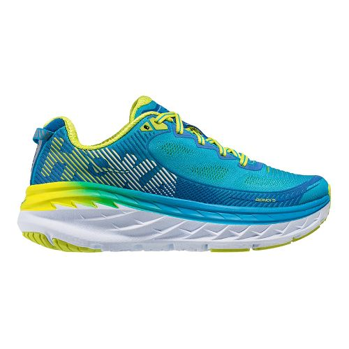 Womens Hoka One One Bondi 5 Running Shoe - Blue/Acid 5.5