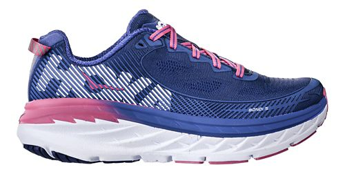 Womens Hoka One One Bondi 5 Running Shoe - Blue/Pink 7
