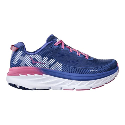 Womens Hoka One One Bondi 5 Running Shoe - Blue/Pink 5