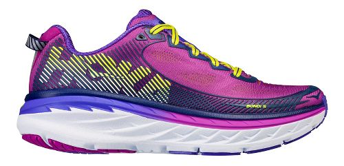 Womens Hoka One One Bondi 5 Running Shoe - Purple/Yellow 6