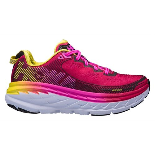 Womens Hoka One One Bondi 5 Running Shoe - Pink/Yellow 9
