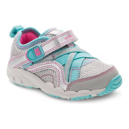 Stride Rite Girls M2P Serena Running Shoe - Silver/Blue 7.5C